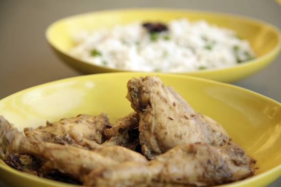 Jeera chicken with pulao